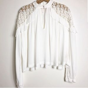White Lace Embroidered Top Free People Blouse